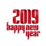 2019 happy new year ribbon lettering illustration.  royalty free illustration