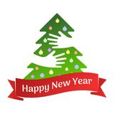 Happy New Year ribbon and tree with hands greeting card vector illustration Stock Photography