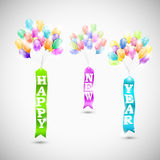 Happy new year ribbons with air bubbles. Eps10 vector illustration Stock Illustration
