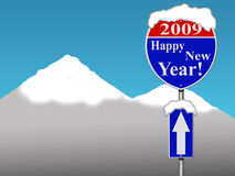 Happy new year road sign. With blue sky and snow mountain background vector illustration