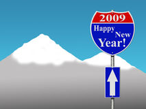 Happy new year road sign. With blue sky and snow mountain background royalty free illustration