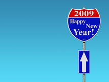 Happy new year road sign. With blue sky background royalty free illustration