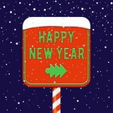 Happy New Year illustration. Happy New Year road sign with fir-tree arrow, holiday pointer banner Royalty Free Stock Photo