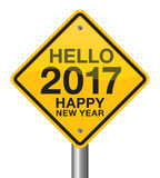 Happy New Year 2017 road sign. Helo 2017 Royalty Free Stock Photography