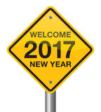 Happy New Year 2017 road sign Royalty Free Stock Images