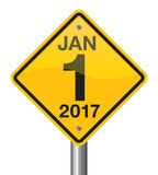Happy New Year 2017 road sign Stock Photo
