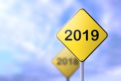 Happy new year 2019 road signs concept vector illustration
