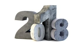 Happy new year 2018. New 2018 year rock figures isolated on white background. 3D rendered Illustration for advertising Stock Images