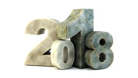Happy new year 2018. New 2018 year rock figures isolated on white background. 3D rendered Illustration for advertising Royalty Free Stock Images