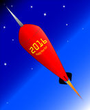 2016 Happy New Year Rocket. A retro look rocket ship with the message Happy New Year - 2016 Royalty Free Stock Photography