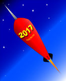 Happy New Year Rocket 2017. A retro look rocket ship with the message 'Happy New Year - 2017 stock illustration