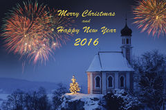 Happy new year 2016 with romantic xmas chapel Royalty Free Stock Images