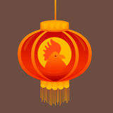 Happy New 2017 Year Rooster Bird Chinese Lantern Asian Horoscope. Flat Vector Illustration Royalty Free Stock Photos