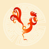 Happy New 2017 Year Rooster Bird Sign Asian Horoscope. Flat Vector Illustration Royalty Free Stock Image