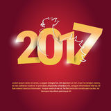 Happy New 2017 Year Rooster Bird Sign Asian Horoscope. Flat Vector Illustration Stock Image