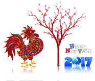 Happy new year 2017 with the rooster design for lunar new year. 2017 Happy New Year greeting card. Celebration Chinese New Year of the Rooster. lunar new year Stock Illustration