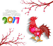 Happy new year 2017 with the rooster design for lunar new year. 2017 Happy New Year greeting card. Celebration Chinese New Year of the Rooster. lunar new year Royalty Free Illustration