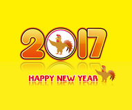 Happy new year 2017 with the rooster design for lunar new year Royalty Free Stock Photos