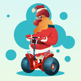 Happy New 2017 Year Rooster Ride Electric Scooter Asian Horoscope Symbol. Flat Vector Illustration Stock Photo