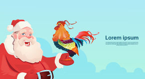 Happy New 2017 Year Rooster With Santa Clause Asian Horoscope Symbol. Flat Vector Illustration Royalty Free Stock Image