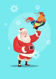 Happy New 2017 Year Rooster With Santa Clause Asian Horoscope Symbol. Flat Vector Illustration Stock Images