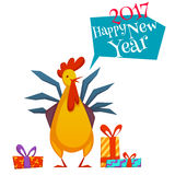 Happy new year 2017 with rooster. Vector illustration. Happy new year 2017 rooster set. Vector illustration with rooster and gifts isolated on white background Stock Images