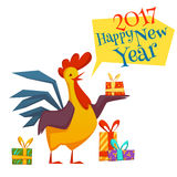 Happy new year 2017 with rooster. Vector illustration. Happy new year 2017 rooster set. Vector illustration with rooster and gifts  on white background Stock Image