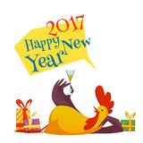 Happy new year 2017 with rooster. Vector illustration. Happy new year 2017 rooster set. Vector illustration with rooster and gifts  on white background Stock Images
