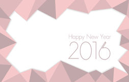 Happy new year 2016 Rose Quartz colored. Triangle polygon pattern background Royalty Free Stock Photography