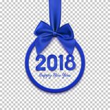 Happy New Year 2018 round banner with blue ribbon and bow. Christmas tree decoration. Greeting card template. Vector illustration Royalty Free Stock Photos