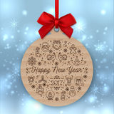 Happy New Year 2017 round banner, Greeting card label template. Happy New Year 2017 round banner with red ribbon and bow, on winter background. Christmas gift Stock Illustration