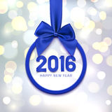 Happy New Year 2016 round banner. Happy New Year 2016 round banner with purple ribbon and bow, on abstract background with bokeh circles. Christmas tree Royalty Free Stock Photo