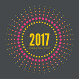 Happy new year 2017. Round banner with rays. happy new year 2017. Decoration collection. frames, vintage labels. for greeting card, flyer, invitation, poster vector illustration