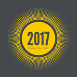 Happy new year 2017. Round banner with rays. happy new year 2017. Decoration collection. frames, vintage labels. for greeting card, flyer, invitation, poster Stock Images