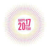 Happy new year 2017. Round banner with rays. happy new year 2017. Decoration collection. frames, vintage labels. for greeting card, flyer, invitation, poster Stock Image