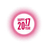 Happy new year 2017. Round banner with rays. happy new year 2017. Decoration collection. frames, vintage labels. Red Royalty Free Stock Photo