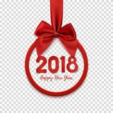 Happy New Year 2018 round banner with red ribbon and bow. Royalty Free Stock Images