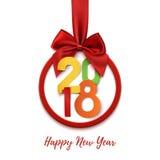 Happy New Year 2018 round banner. Stock Image