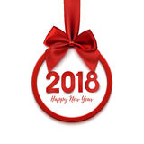 Happy New Year 2018 round banner with red ribbon and bow. Stock Images