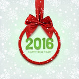 Happy New Year 2016 round banner. Happy New Year 2016 round banner with red ribbon and bow, on winter background with snow and snowflakes. Christmas tree Stock Images