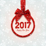Happy New Year 2017 round banner. Happy New Year 2017 round banner with red ribbon and bow, on winter background with snow and snowflakes. Christmas tree Stock Photography