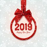 Happy New Year 2019 round banner with red ribbon. Happy New Year 2019 round banner with red ribbon and bow, on winter background with snow and snowflakes royalty free illustration
