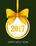 2017 Happy New Year Round Banner with Yellow Bow. Happy New Year 2017 round banner with yellow ribbon and big bow. Toy with white center. Christmas tree Stock Images