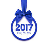 Happy New Year 2017 round, blue banner. Happy New Year 2017 round, blue banner with purple ribbon and bow,  on white background. Christmas tree decoration Stock Photography