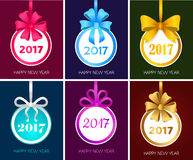 Happy New Year 2017 Round Christmas Toy Set Vector. Happy New Year 2017 round Christmas toy with ribbons, big bows. Set collection of xmas banners. Christmas royalty free illustration