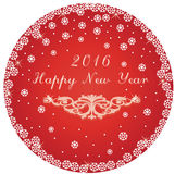Happy New Year round circle red card Stock Photo