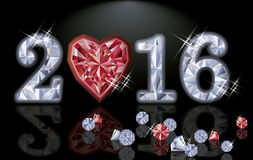 Happy 2016 New year ruby poker heart, vector Stock Photography
