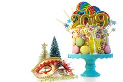 2019 Happy New Year`s candy land lollipop drip cake. stock photography