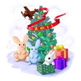 Happy New Year's card with rabbits Stock Images
