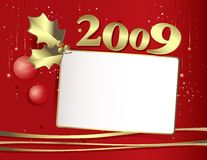 Happy new-year's eve 2009. Vector greeting card on red background and golden ornaments Stock Illustration